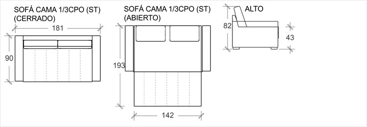 Pullman sof cama frontera living for Sofa cama 90 cm ancho